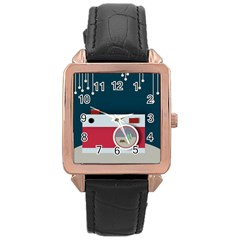 Camera Vector Illustration Rose Gold Leather Watch