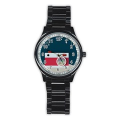 Camera Vector Illustration Stainless Steel Round Watch