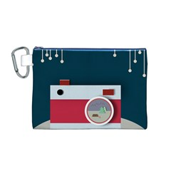 Camera Vector Illustration Canvas Cosmetic Bag (m)