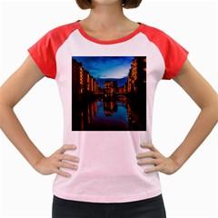 Hamburg City Blue Hour Night Women s Cap Sleeve T Shirt