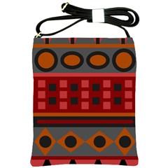 Red Aztec Shoulder Sling Bags