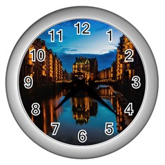 Hamburg City Blue Hour Night Wall Clocks (silver)