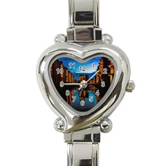 Hamburg City Blue Hour Night Heart Italian Charm Watch