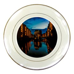 Hamburg City Blue Hour Night Porcelain Plates