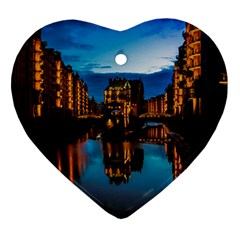 Hamburg City Blue Hour Night Heart Ornament (2 Sides)