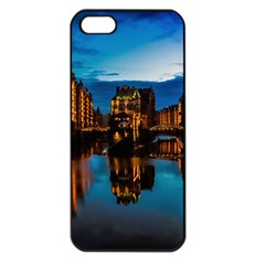 Hamburg City Blue Hour Night Apple Iphone 5 Seamless Case (black)