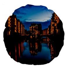 Hamburg City Blue Hour Night Large 18  Premium Round Cushions