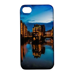 Hamburg City Blue Hour Night Apple Iphone 4/4s Hardshell Case With Stand