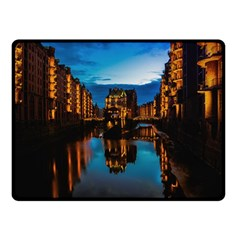 Hamburg City Blue Hour Night Double Sided Fleece Blanket (small)