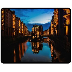 Hamburg City Blue Hour Night Double Sided Fleece Blanket (medium)