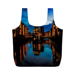 Hamburg City Blue Hour Night Full Print Recycle Bags (m)