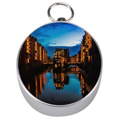 Hamburg City Blue Hour Night Silver Compasses