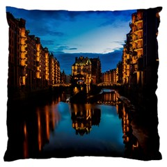 Hamburg City Blue Hour Night Standard Flano Cushion Case (one Side)