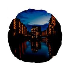 Hamburg City Blue Hour Night Standard 15  Premium Flano Round Cushions