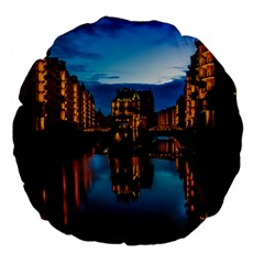 Hamburg City Blue Hour Night Large 18  Premium Flano Round Cushions