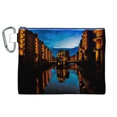 Hamburg City Blue Hour Night Canvas Cosmetic Bag (xl)