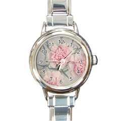 Cloves Flowers Pink Carnation Pink Round Italian Charm Watch