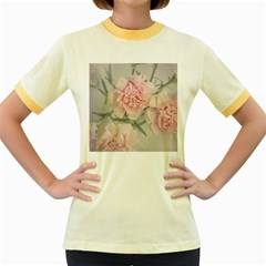 Cloves Flowers Pink Carnation Pink Women s Fitted Ringer T Shirts