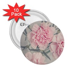 Cloves Flowers Pink Carnation Pink 2 25  Buttons (10 Pack)
