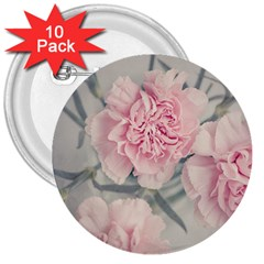 Cloves Flowers Pink Carnation Pink 3  Buttons (10 pack)