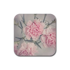 Cloves Flowers Pink Carnation Pink Rubber Square Coaster (4 pack)