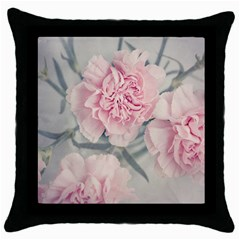 Cloves Flowers Pink Carnation Pink Throw Pillow Case (black)