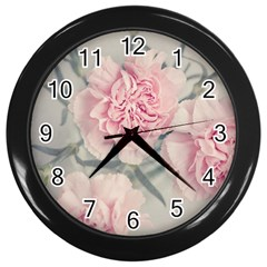 Cloves Flowers Pink Carnation Pink Wall Clocks (black)