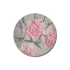 Cloves Flowers Pink Carnation Pink Rubber Coaster (round)