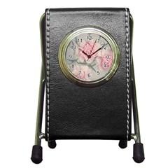 Cloves Flowers Pink Carnation Pink Pen Holder Desk Clocks