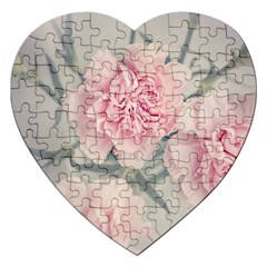 Cloves Flowers Pink Carnation Pink Jigsaw Puzzle (heart)