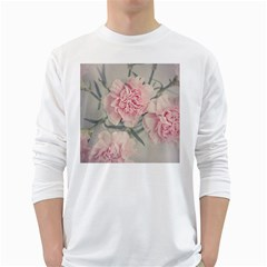 Cloves Flowers Pink Carnation Pink White Long Sleeve T Shirts