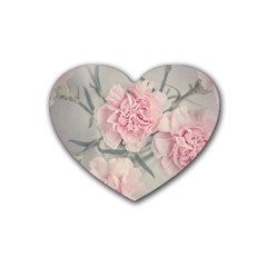 Cloves Flowers Pink Carnation Pink Rubber Coaster (Heart)