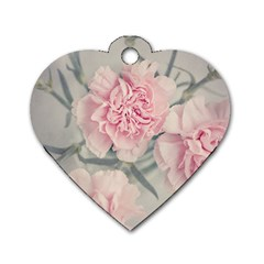 Cloves Flowers Pink Carnation Pink Dog Tag Heart (two Sides)
