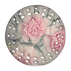 Cloves Flowers Pink Carnation Pink Round Filigree Ornament (2side)