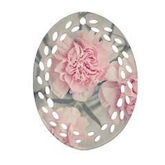 Cloves Flowers Pink Carnation Pink Oval Filigree Ornament (2 Side)