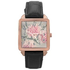 Cloves Flowers Pink Carnation Pink Rose Gold Leather Watch