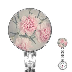 Cloves Flowers Pink Carnation Pink Stainless Steel Nurses Watch