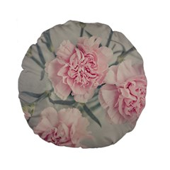 Cloves Flowers Pink Carnation Pink Standard 15  Premium Flano Round Cushions
