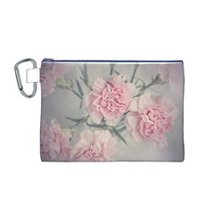 Cloves Flowers Pink Carnation Pink Canvas Cosmetic Bag (m)