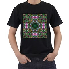 Digital Kaleidoscope Men s T Shirt (black) (two Sided)