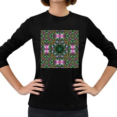 Digital Kaleidoscope Women s Long Sleeve Dark T Shirts