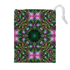 Digital Kaleidoscope Drawstring Pouches (extra Large)