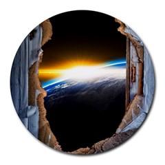 Door Breakthrough Door Sunburst Round Mousepads