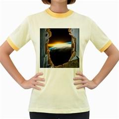 Door Breakthrough Door Sunburst Women s Fitted Ringer T Shirts