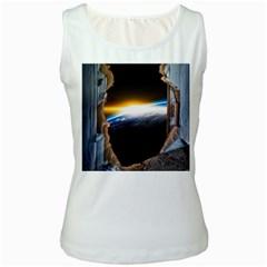 Door Breakthrough Door Sunburst Women s White Tank Top