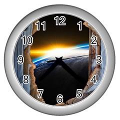 Door Breakthrough Door Sunburst Wall Clocks (silver)
