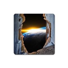 Door Breakthrough Door Sunburst Square Magnet