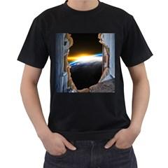 Door Breakthrough Door Sunburst Men s T-Shirt (Black) (Two Sided)