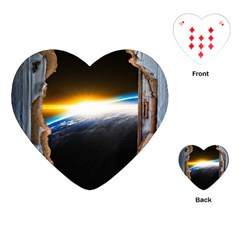 Door Breakthrough Door Sunburst Playing Cards (heart)