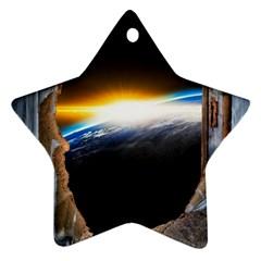 Door Breakthrough Door Sunburst Star Ornament (two Sides)